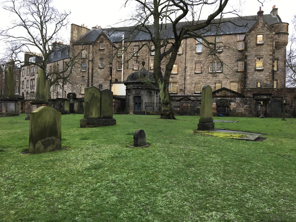 Bluidy Mackenzie's mausoleum is in the center of this picture on the south side of the Kirkyard.