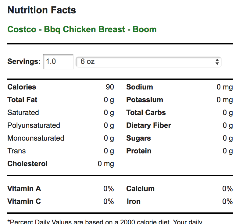 http://www.myfitnesspal.com/food/calories/costco-bbq-chicken-breast-boom-487817828