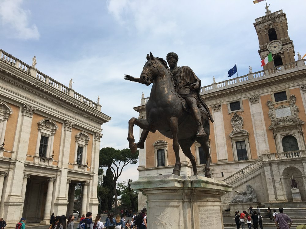 The Equestrian Statue of Marcus Aurelius,  the   Capitoline Hill in Rome