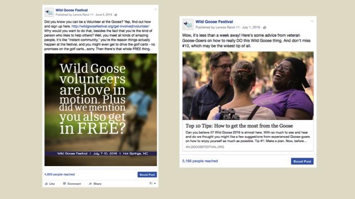 2016 Festival Facebook Posts