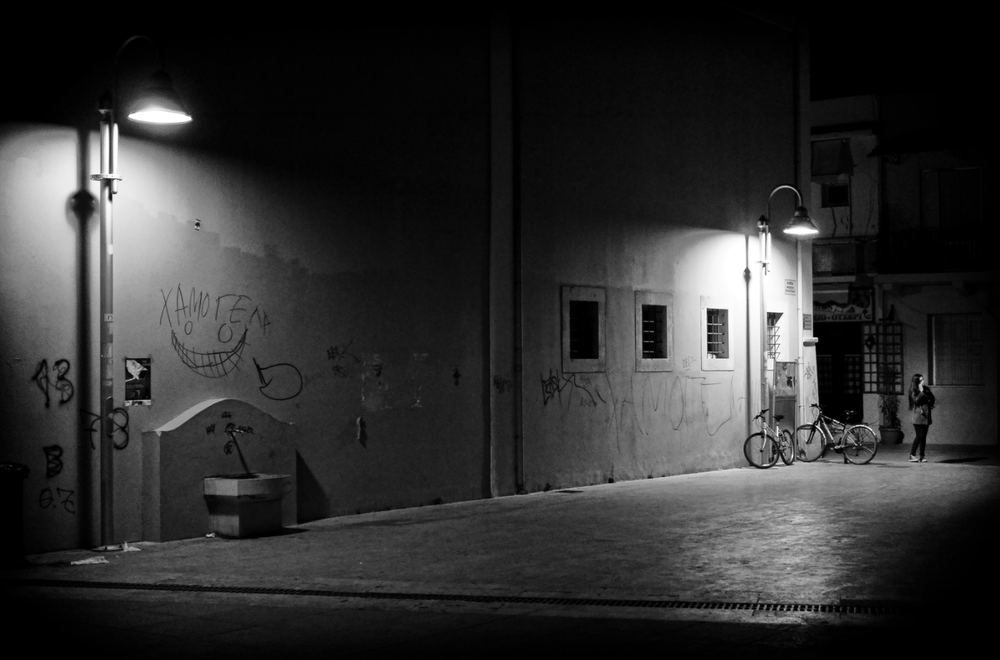Two street lamps and one girl by Spyros Papaspyropoulos
