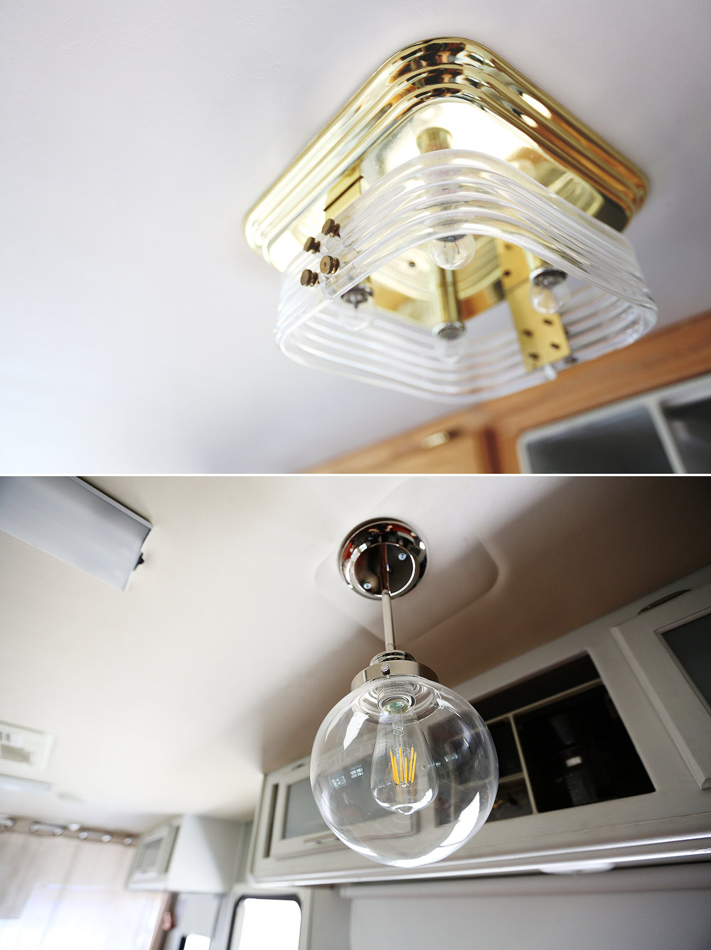 Detail of booth light fixture, before/after
