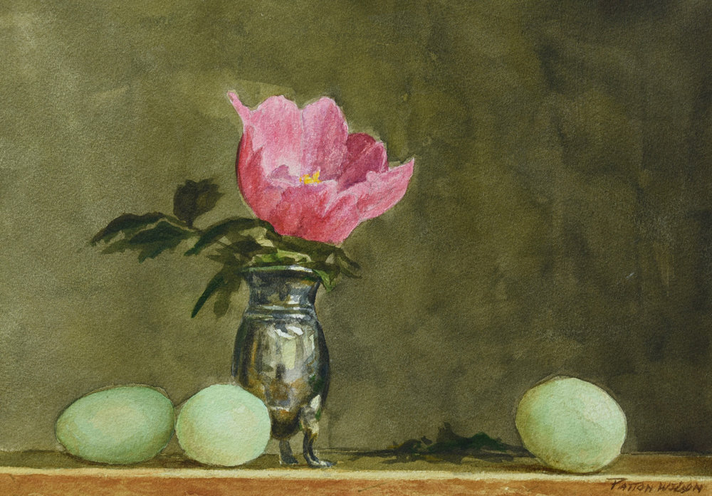 """EGGS AND PEONY"" Watercolor"