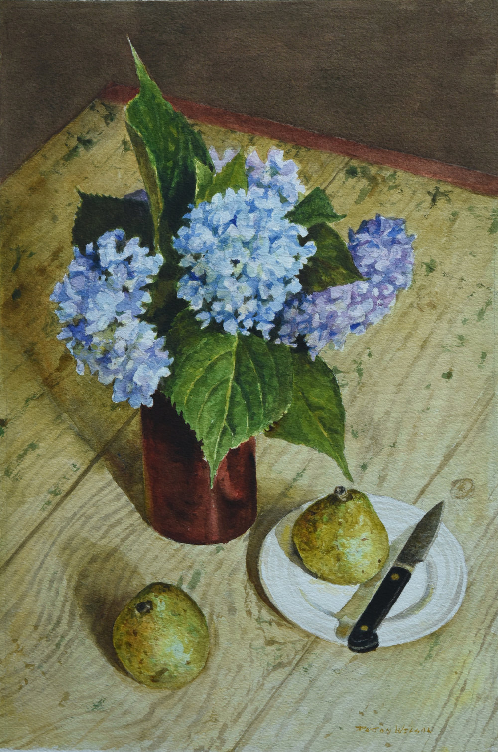"""""""HYDRANGEA AND PEARS"""" Watercolor 17 x 11"""