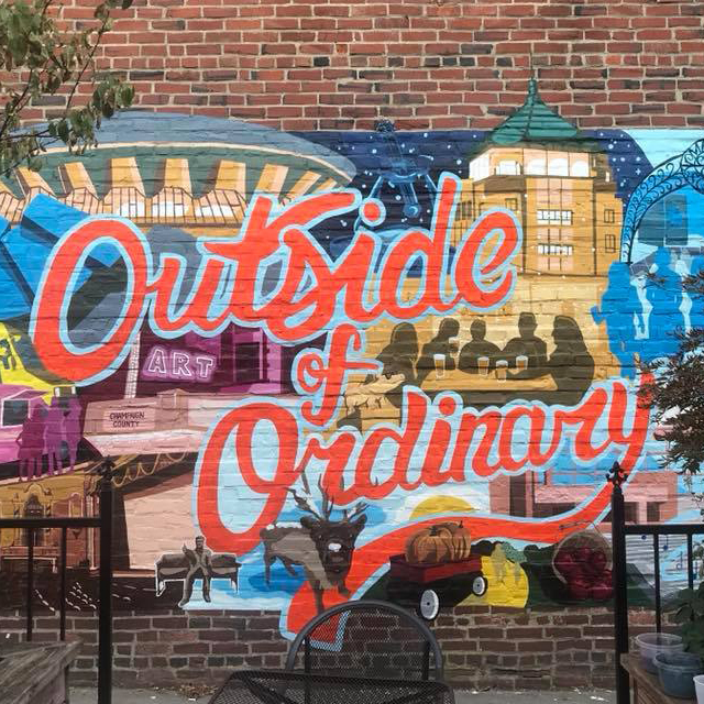 Mural at Blind Pig Beer Garden, painted by Madelyn Witruk