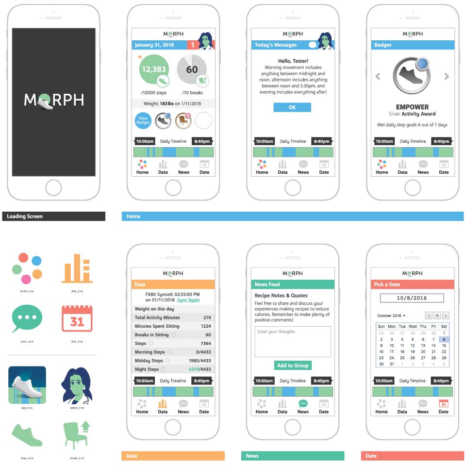 Morph app mockups, branding and icon design