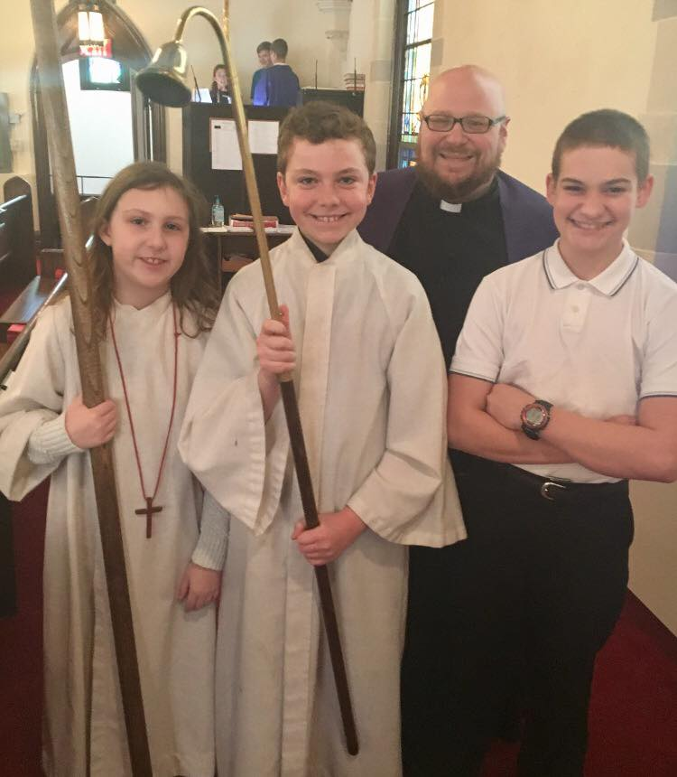 Pastor Matt with our acolytes before worship.