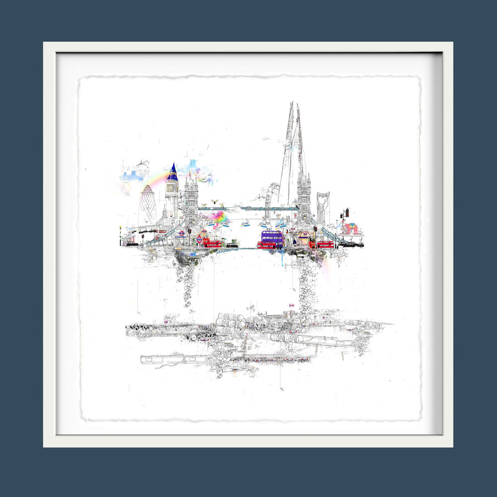 TOWER BRIDGE  in a white frame