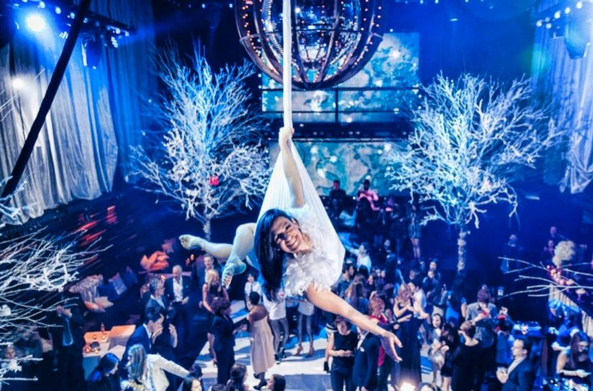 Cirque Central Aerialist Winter Wonderland Bar Mitzvah Decor