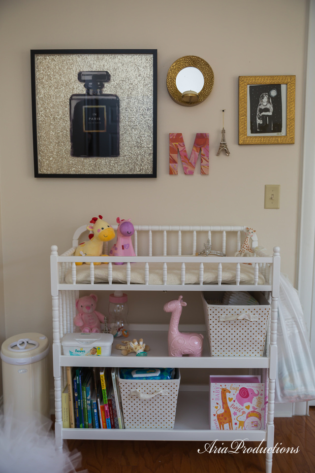 Changing Table - Jenny Lind (Amazon)  Perfume Art - Oliver Gal  Painting - It's me! Trebla Art painted it at a local bloggers event.