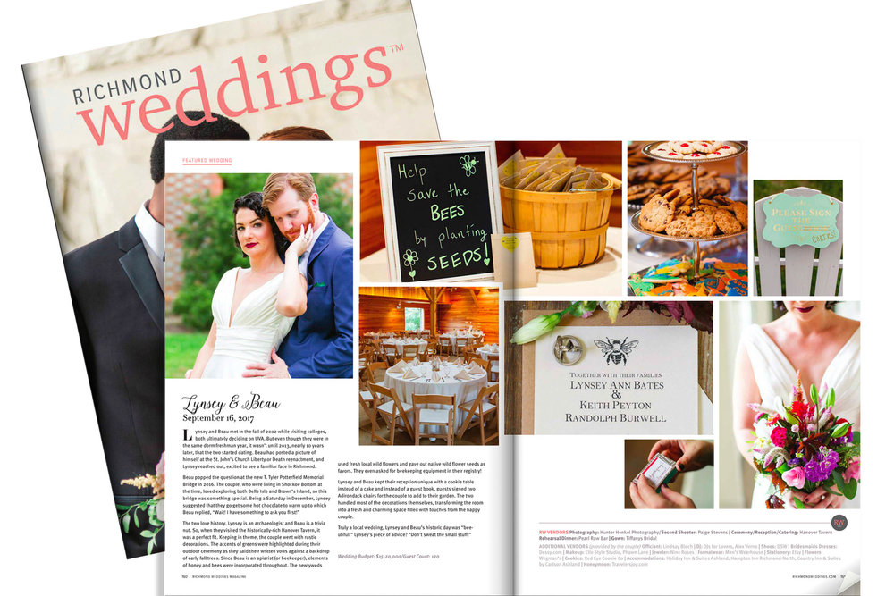 See Lynsey & Beau's wedding in the Winter + Spring 2018 Richmond Weddings Magazine Now!