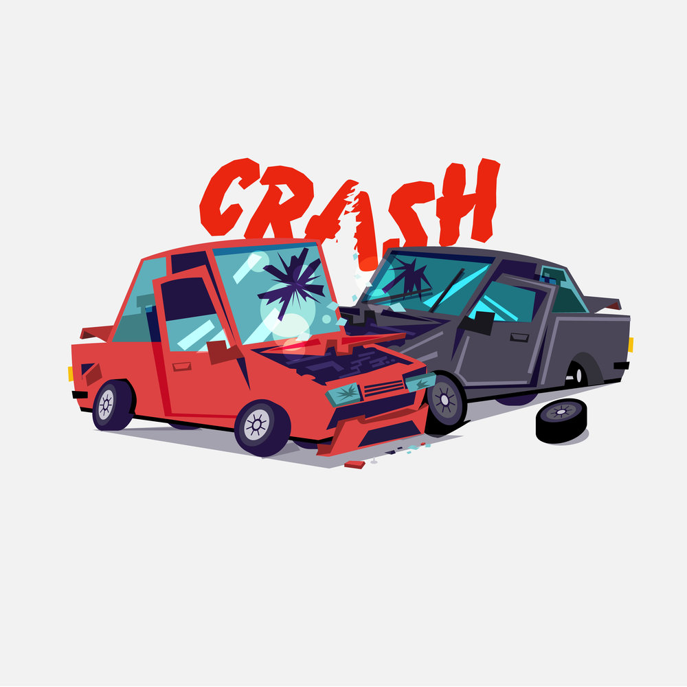 Cartoon image of two cars in an accident with the word CRASH written above it