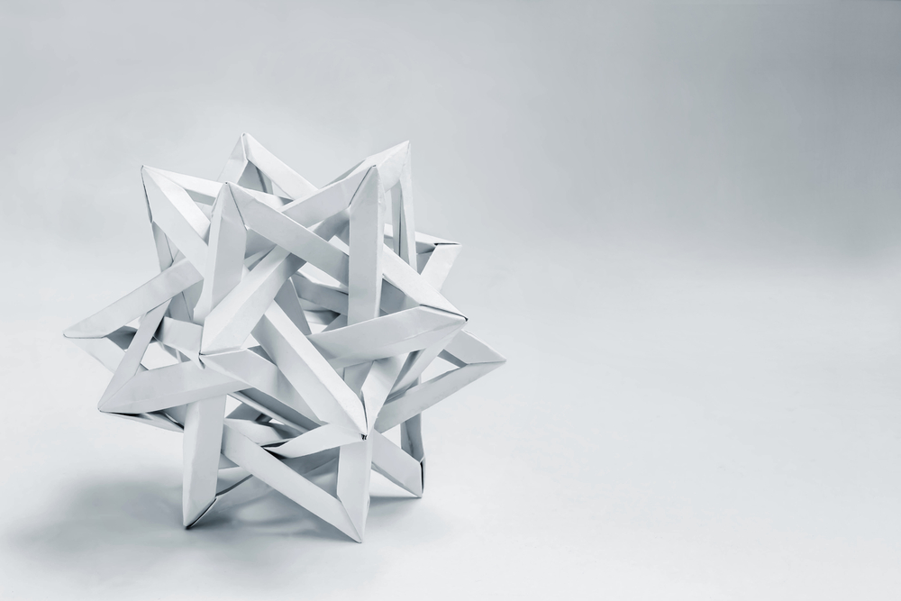 Complex star shaped paper sculpture