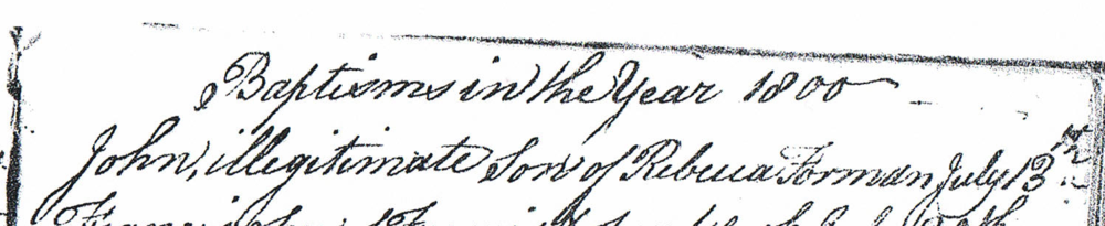 "photocopy of part of a handwritten document titled ""Baptisms in the year 1800"""