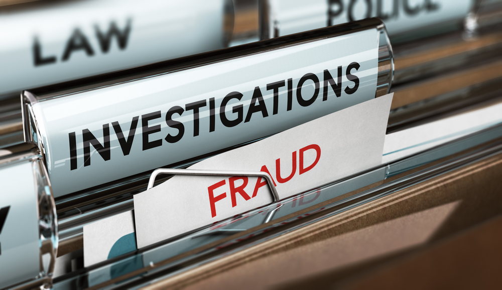 File folders labeled Investigations, Fraud, Law and Police