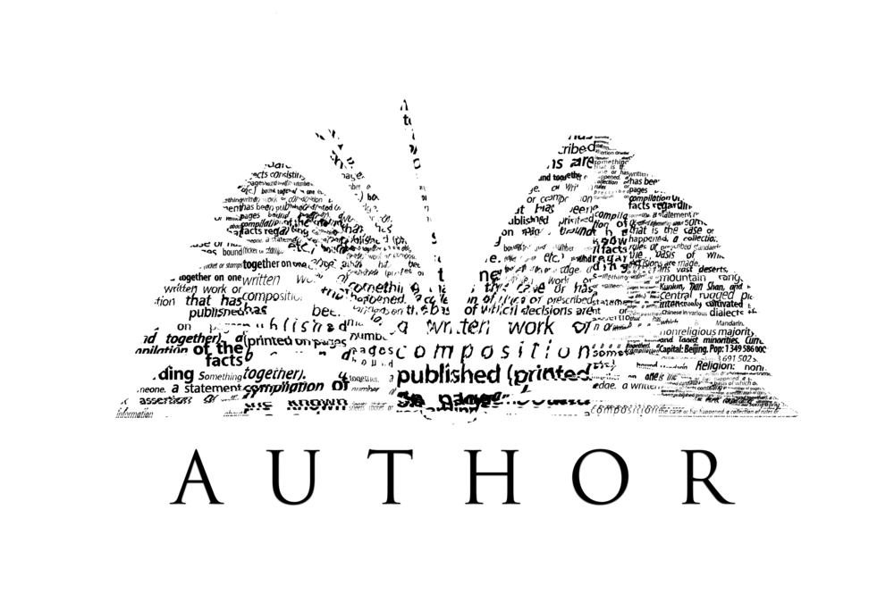 Stylized picture of book with the word AUTHOR under it.