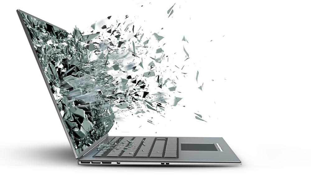 Laptop with exploding screen