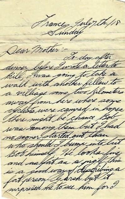 Basil Vale July 7 1918 letter - page 1.JPG