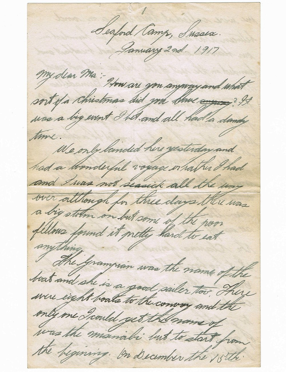 First page of handwritten letter
