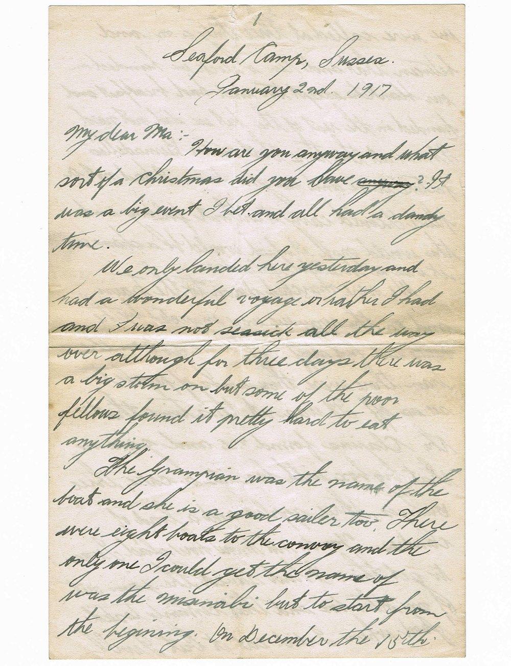 Basil Vale January 2, 1918 letter - page 1.jpg