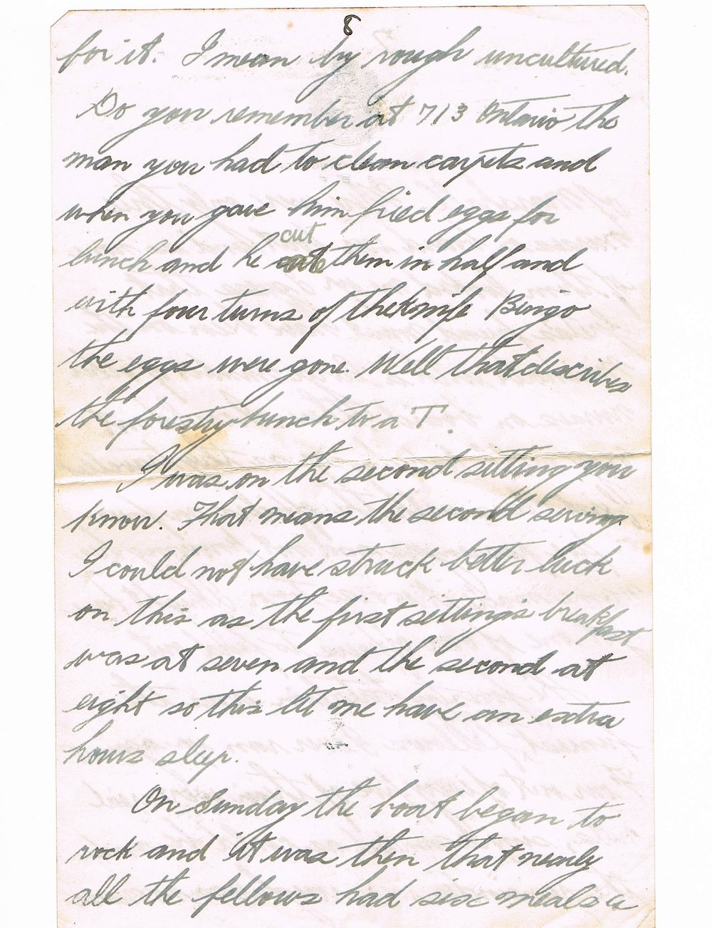 Eighth page of handwritten letter