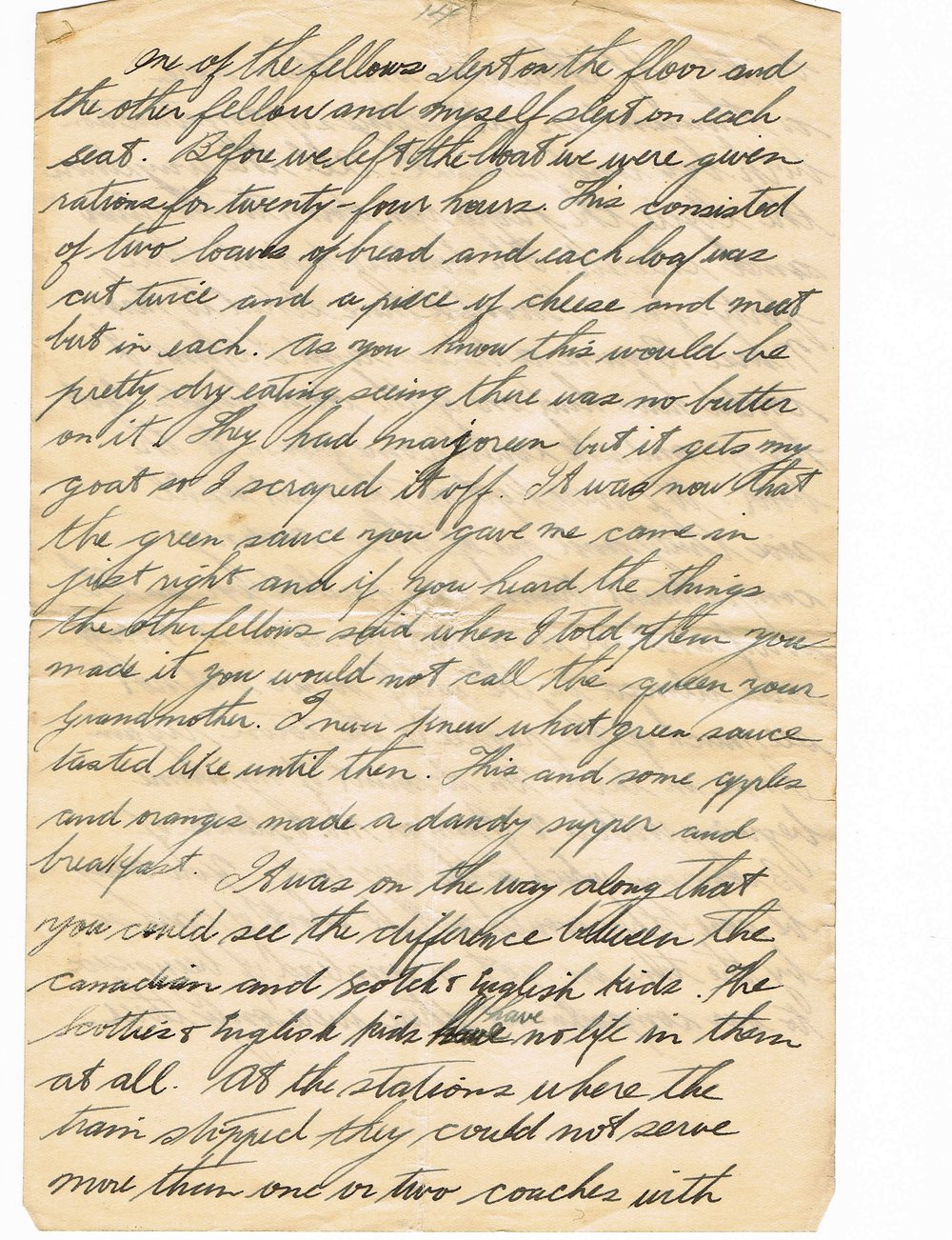 14th page of handwritten letter