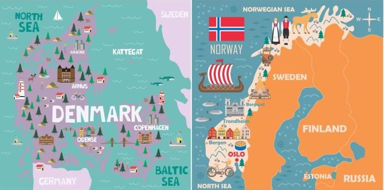 Maps of Scandinavia.