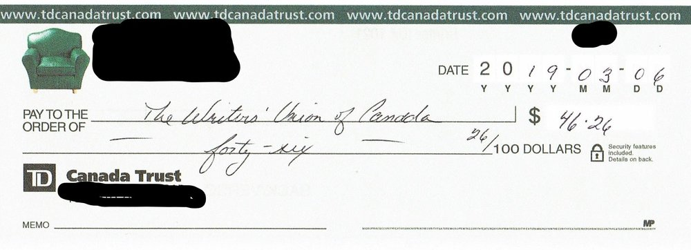Redacted image of cheque