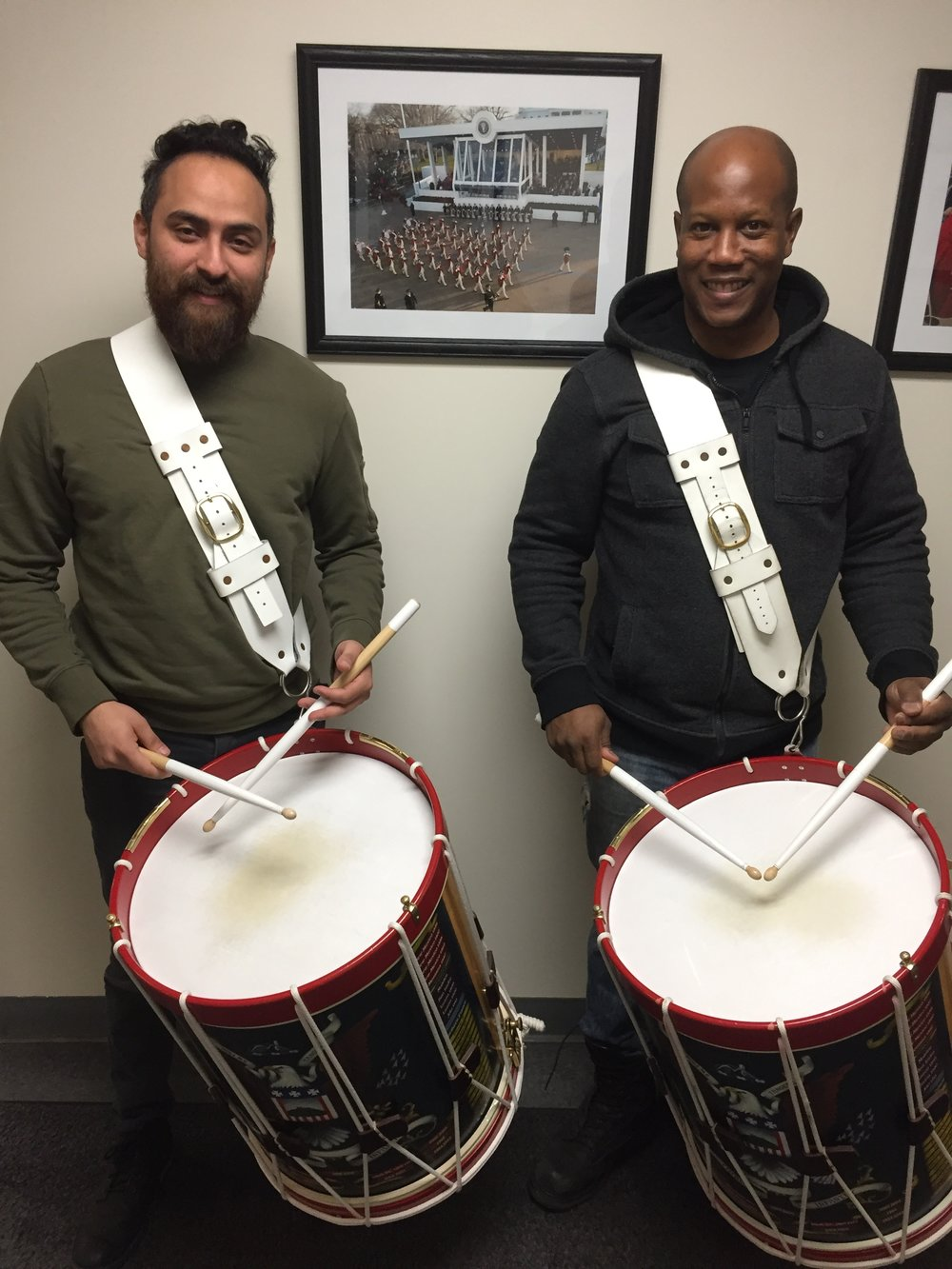 "Marcos & Damon trying out the snare drums from the ""Old Guard"""