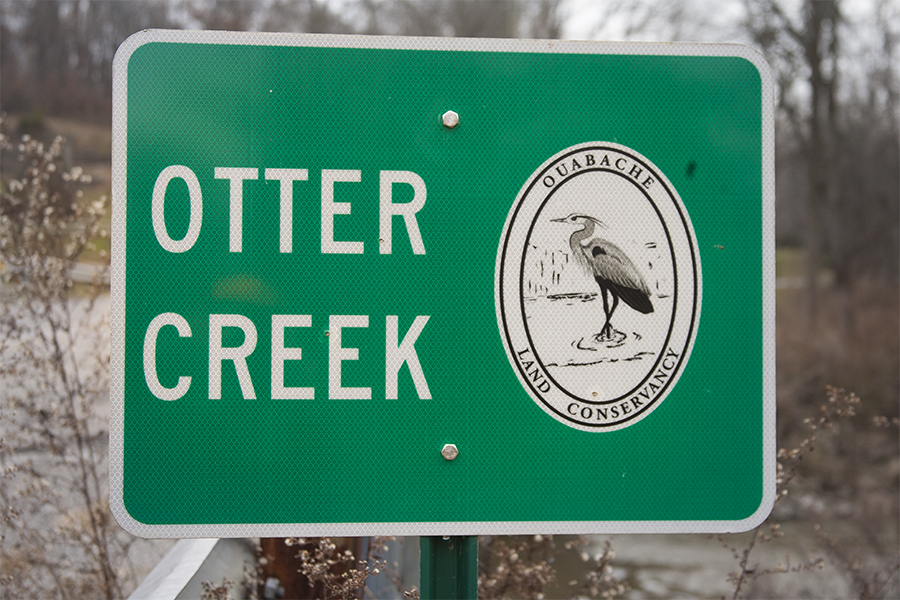 One of the many signs the OLC has placed at roadway creek crossings.  This sign is on Roberts Road in NE Vigo County.  The main branch of Otter Creek meets the North Branch of Otter Creek just east of Roberts Road.