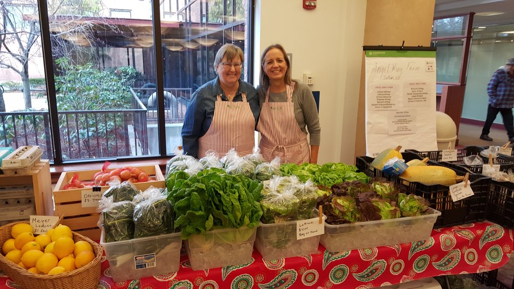 Marsha and Carol at the Wednesday farmer's market at CMC/DHK.