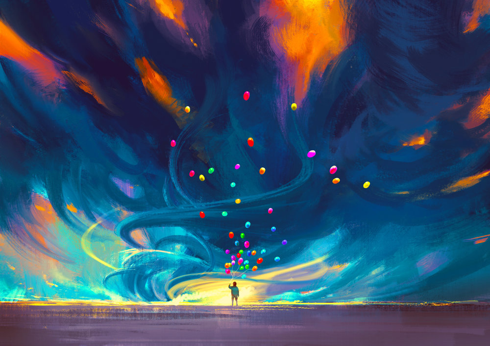 child holding balloons standing in front of fantasy storm,illustration painting