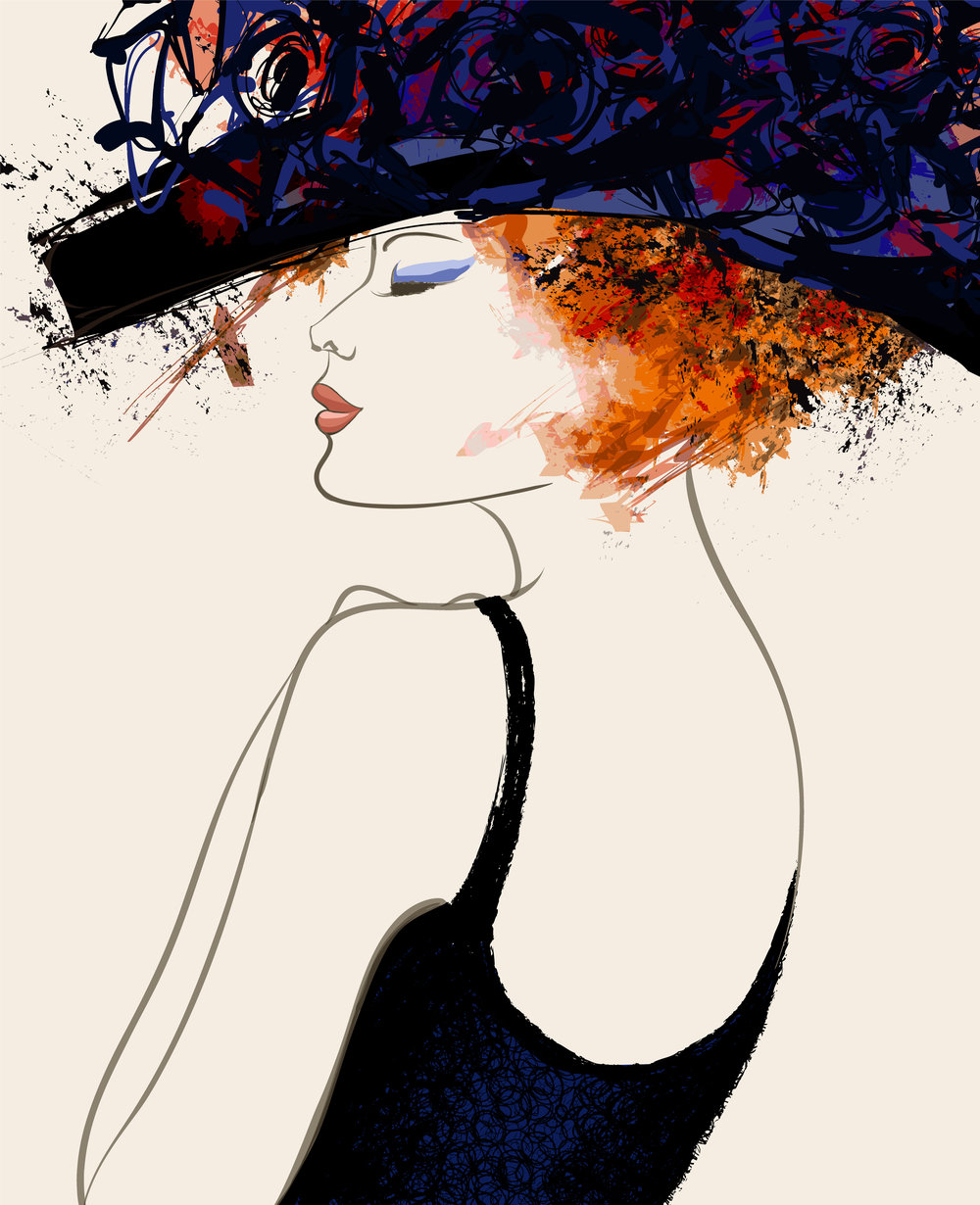 Woman fashion model with hat