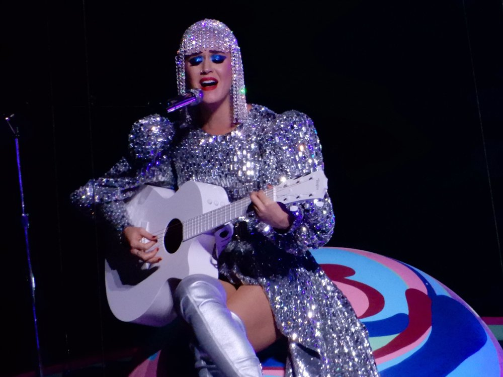 "Katy Perry performing her song ""Thinking of You,"" during her Witness tour."