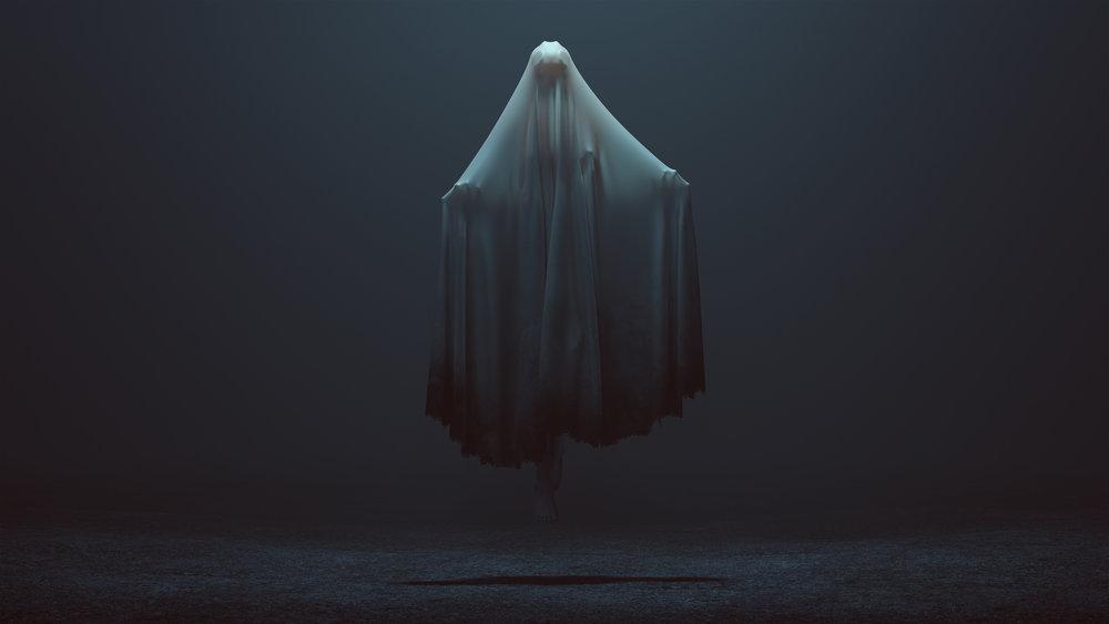 Floating Evil Spirit in a foggy void 3d Illustration