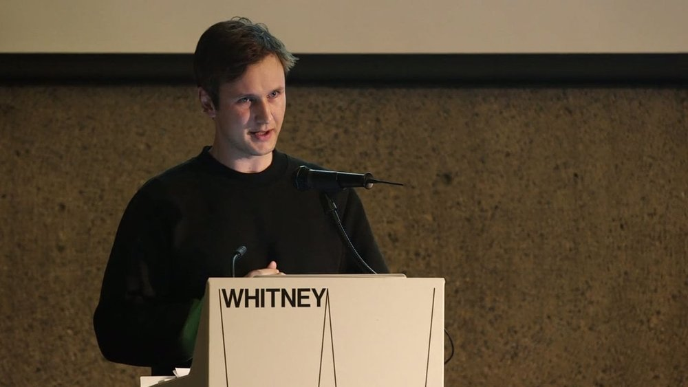 Ben speaking at The Whitney in 2014.