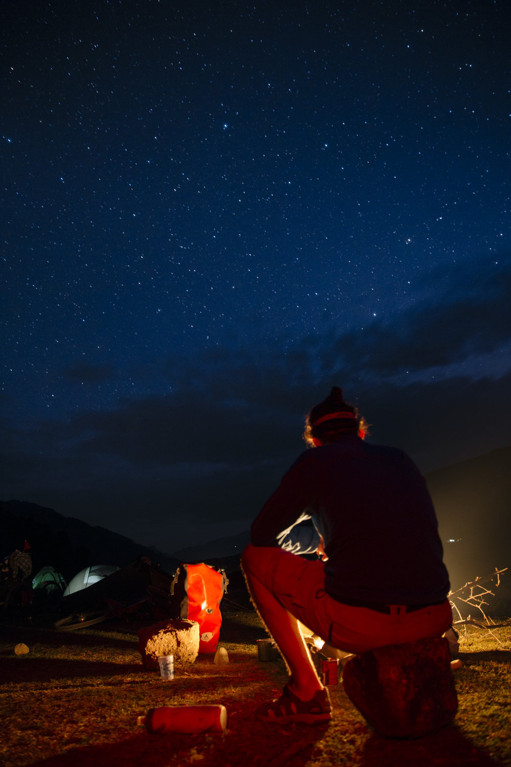 Camping under the stars on the Khingob river bed.