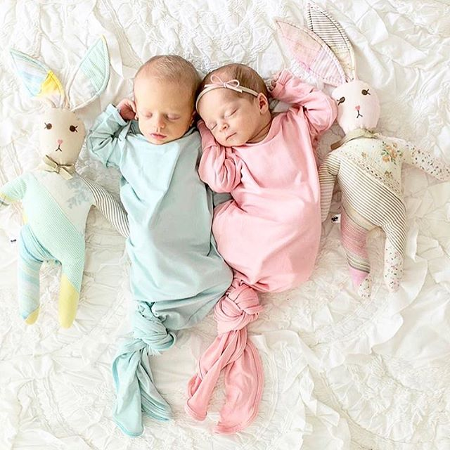 Sweetest twins 💙💗 {bamboo knotted gowns in ice blue + blush}