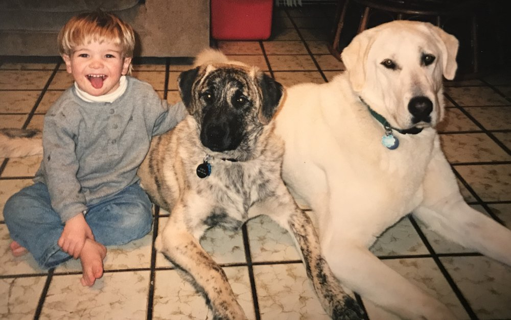 Our son, Dakota, pictured here with Sarisan and Kira in 1997.