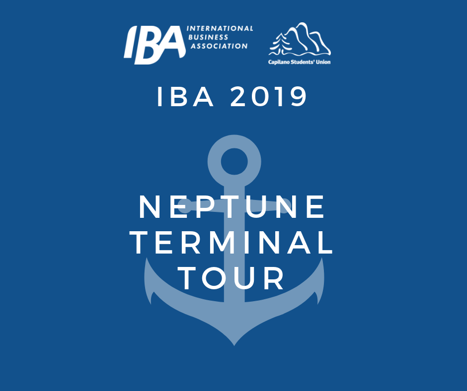 Neptune Terminals Tour - Come join us for a touring of the Neptune Terminals and discover one of North America's largest multi-product bulk terminals this January 28, 2019.Explore and gain a better understanding of its workplace environment and culture and get a chance to meet and interact with International Business and Supply Chain industry professionals!**FREE ADMISSION & SHUTTLE AVAILABLE**Departure: Shuttle bus outside CapU Sportsplex 12:00PMReturn: Shuttle bus to CapU 1:30PMLIMITED SEATS AVAILABLE!!Register today by sending an email at info@capuiba.caFacebook
