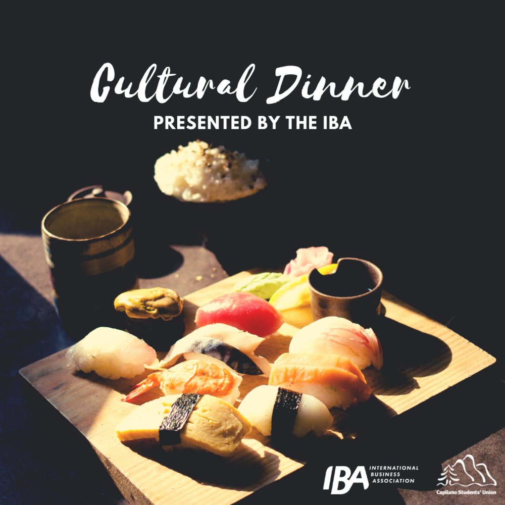 Cultural Dinner - A small dinner with a professional with international business experience. This will give students an in-depth conversation and knowledge of what it is like to work in a foreign country and the differences in culture that comes along with it. This a fun way to converse about international business with students and encourage them to practice industry dialogue over dinner.Date: Thursday Feb 7 at 6 PM – 8:30 PMLocation: Kamei Royale Japanese Restaurant1066 West Hastings St, Vancouver, British Columbia V6E3X1Get your tickets at: https://www.eventbrite.ca/e/cultural-dinner-tickets-55872810079