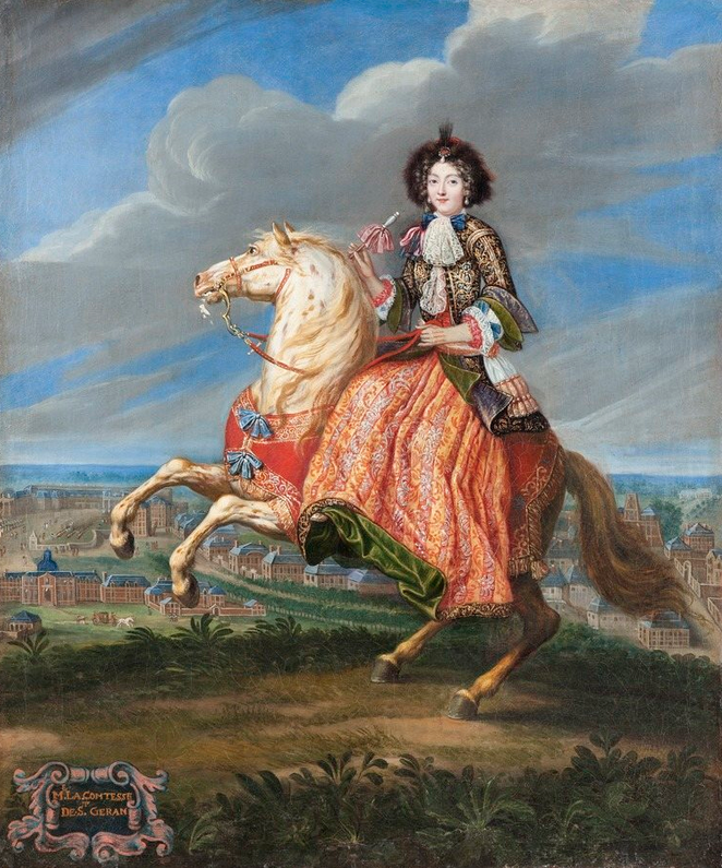 Madame La Comtesse de Saint Geran riding side saddle in the 17th century