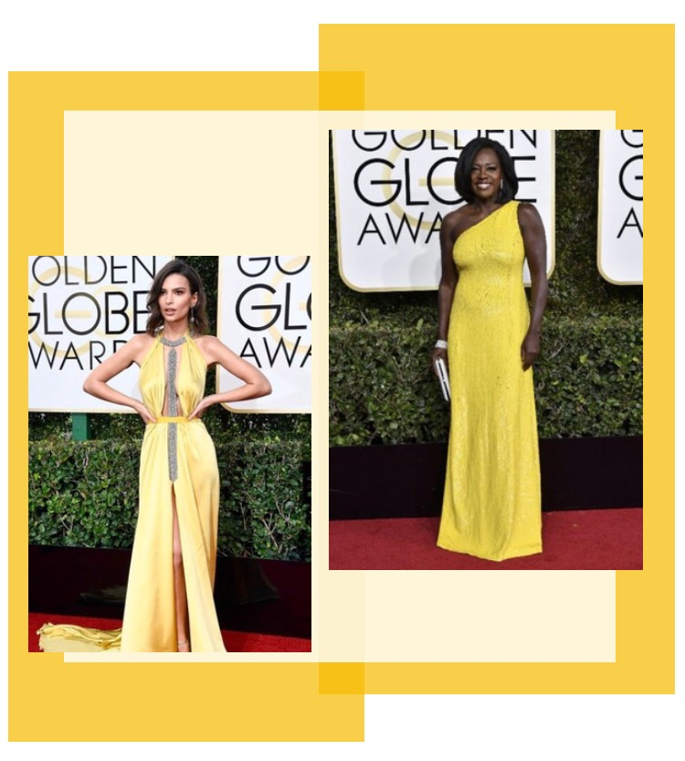 Emily Ratajkowski in Reem Acra & Viola Davis in Michael Kors Collection