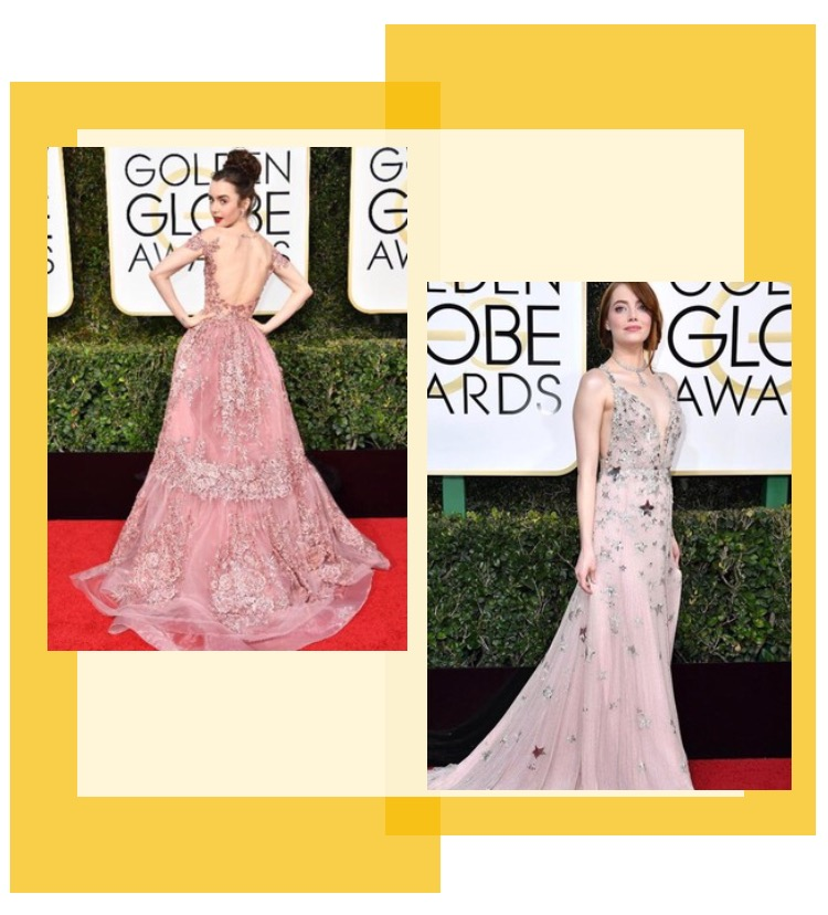Lily Collins in Zuhair Murad & Emma Stone in Maison Valentino