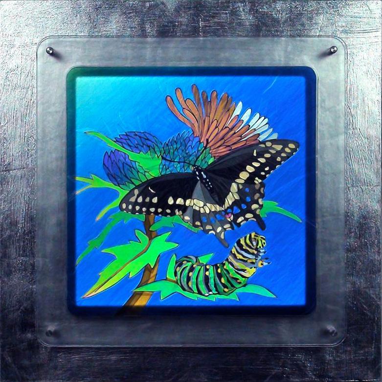 "Transition, 20""x20""x3"" framed [sold]"