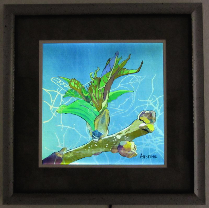 "Bud & Bird, 20"" x 20"" framed"