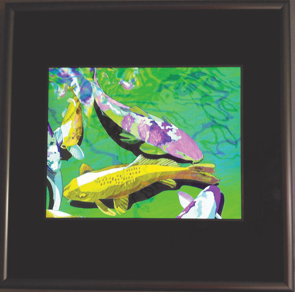 "Five Koi, 14.5"" x 14.5"" framed"