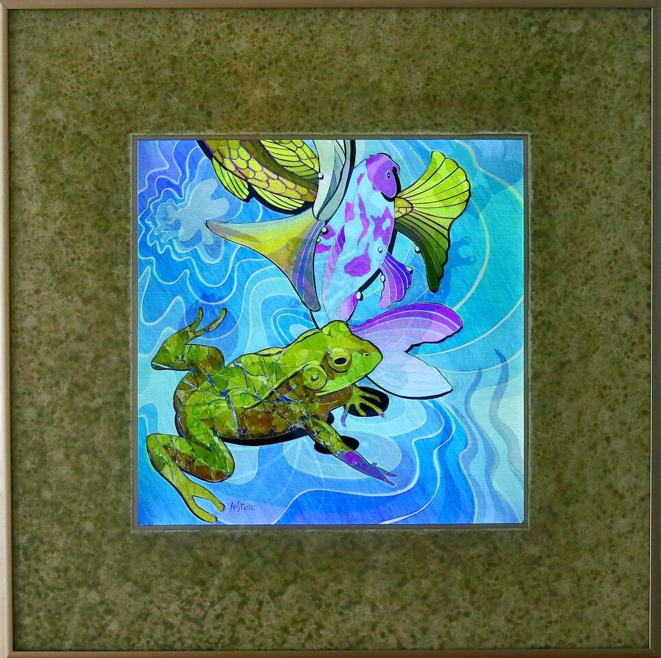 """Pond Life I, 20""""x20"""" framed"""