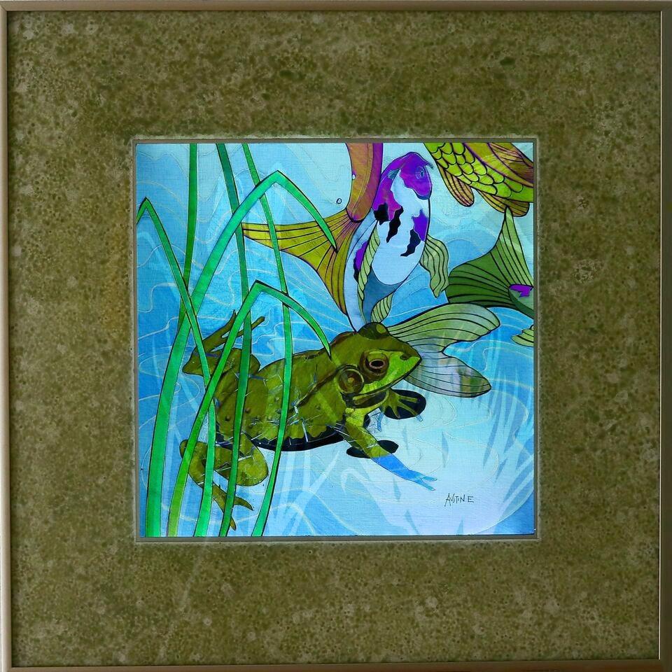 """Pond Life II, 20""""x20"""" framed"""