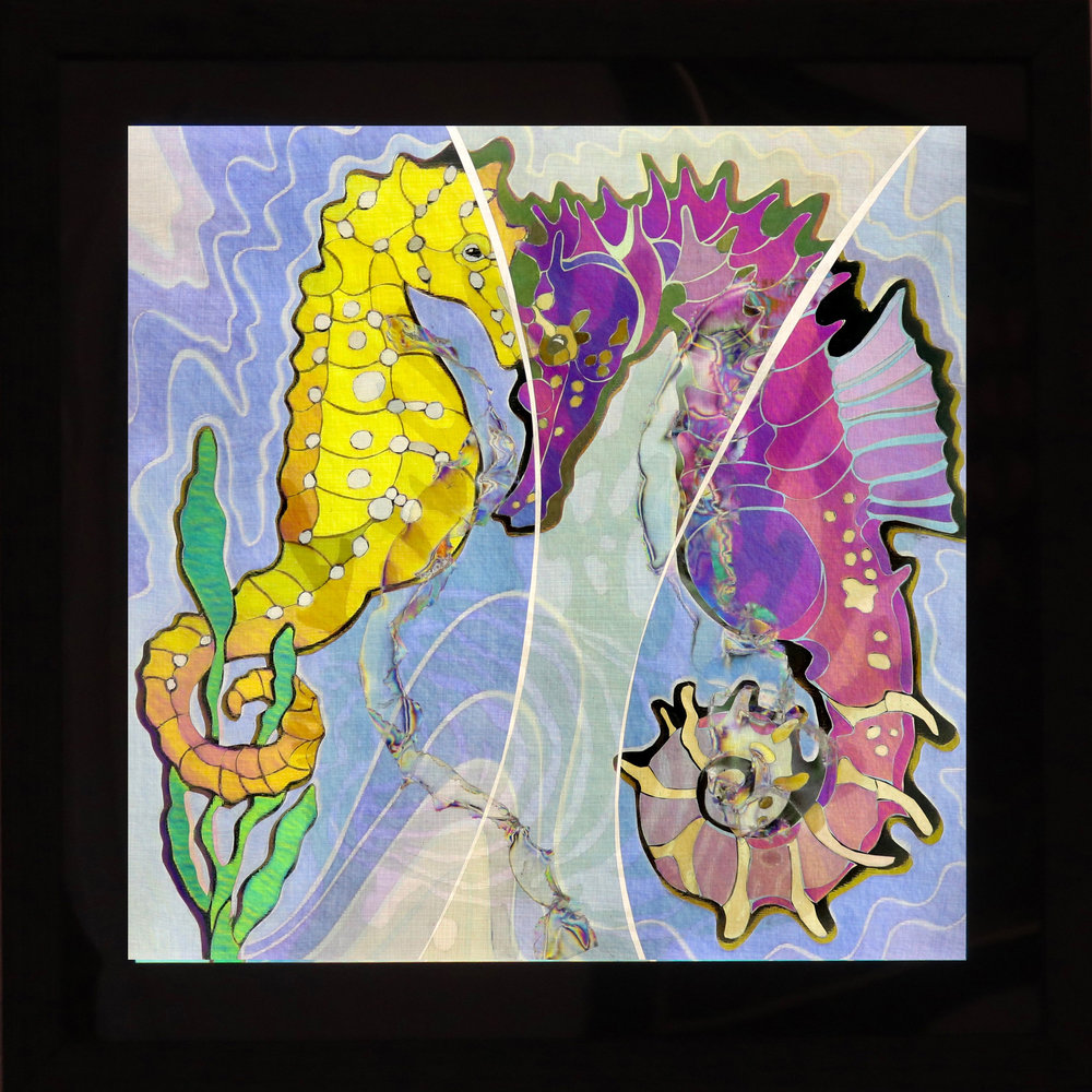 "Seahorses, 16"" x 16"" x 3"" framed"